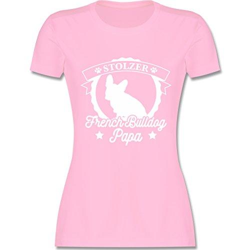 Hunde - Stolzer French Bulldog Papa - M - Rosa - L191 - Damen T-Shirt Rundhals (Rosa Damen T-shirt Bulldog)