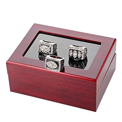 Stück des Mannes Ringe Set, Oakland Raiders Sport Fan Ringe Super Bowl Championship Ringe mit Display Holzkiste Größe 11 für Vatertagsgeschenk ()