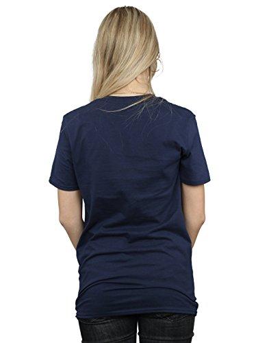 Absolute Cult Avengers Femme Infinity War Orange Logo Petit Ami Fit T-Shirt Bleu Marin