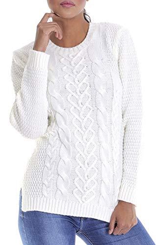 LEIF NELSON Damen-Strickpullover | Frauen Basic Strick-Pulli mit Rundkragen | Moderner Woll-Pullover Langarm-Sweatshirt | Das Beste in Kleidung Frauen LN10195; Größe XL, Ecru