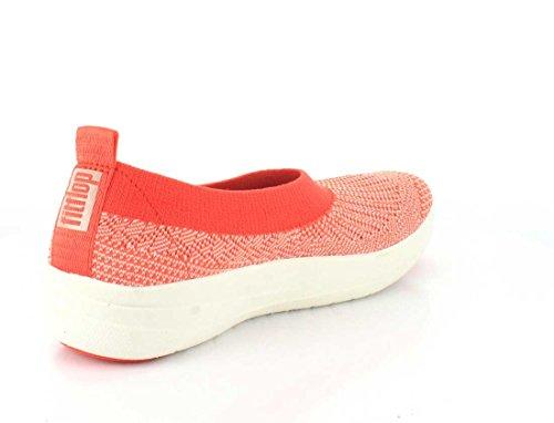 FitFlop Uberknit Ballerina Slip-on Scarpe Calde Al Neon Coral Blush Hot Coral / Neon Arrossire
