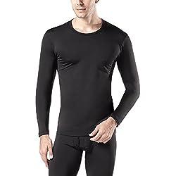 LAPASA Camiseta Térmica, Pack de 2 Manga Larga para Hombre. -Brushed Back Fabric Technique- M09 (XL (Largo 75, Manga 62, Pecho 112-117 cm), Negro 2)