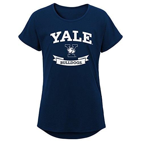 NCAA Yale Bulldogs Jugend Mädchen Kurze Ärmel Dolman Tee, Jugend Mädchen, Mädchen, K N8 47T7A Y1-XL, Dunkles Marineblau, Youth Girls X-Large (16) - Jugend Jersey Polo