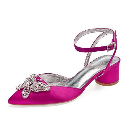 cf7d22cf7c SERAPH 8555-2 Zapatos de Boda Mujer Tacón de Ancho Sandalias Slingback  D'Orsay