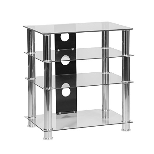 MMT LHFCCH650 – 4-Regal Klarglas Glas TV- Rack Hi Fi Regal - Hi-Fi Rack – TV Tisch (Audio-rack Regal 4)