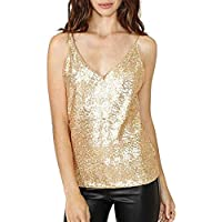 Jmwss QD Women's Sexy Sequin V Neck Spaghetti Strap Sparkle Tank To Golden XL