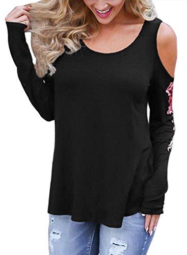 Junshan Damen Sweatshirt mit Rose Winter Shirt Pullover Bluse Langarm O-Ausschnitt Tops Schwarz