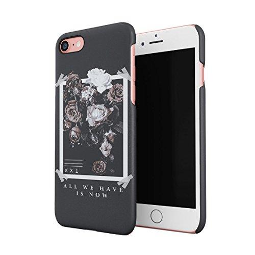 All We Have Have is Now Pale Weiß & Rosa Wild Roses Tumblr Dünne Rückschale aus Hartplastik für iPhone 7 & iPhone 8 Handy Hülle Schutzhülle Slim Fit Case Cover