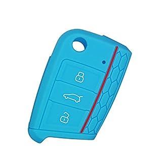 AIU Auto Schlüsselhülle Silikon Schlüsselschutz Fernbedienung Schlüsselcover Klappschlüssel 3 Tasten für VW/Golf 7 usw (blau)