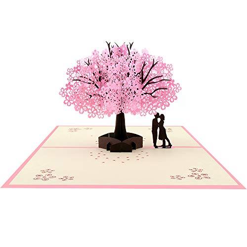 3D Grußkarten Geburtstagskarte Hochzeitskarte Pop Up Karte Liebe, Wedding Card Glückwunschkarte für Geburtstags Muttertags Hochzeitstag Valentinstag, Geschenke zur Hochzeit, Rosa Kirschblüte 3d-karte