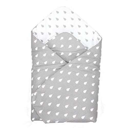 TupTam Baby Einschlagdecke Warm Wattiert Baumwolle, Farbe: Tropfen Grau, Größe: ca. 75 x 75 cm