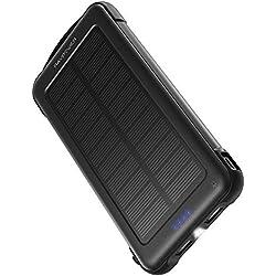 RAVPower Cargador Solar Portátil 10000mAh, Batería Externa con iSmart 2.0 y Dual Entrada (Toma De Corriente y Solar), Cargador Móvil Solar A Prueba De Golpes con Linterna para el iPhone, Galaxy