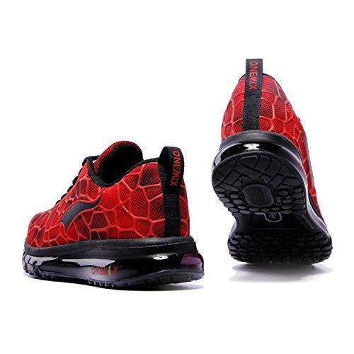 Onemix Baskets Basses Homme Chaussures de Running Entrainement Homme Ultraléger Air Red / Black