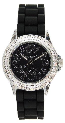 St.Tropez 56904-217-Jet Set-J Women's Watch Analogue Quartz Black Rubber Strap Black Dial