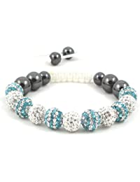 11-Ball Dual Double Colour Row Blue and White Bead Shamballa Bracelet on White String ** EXCLUSIVE DESIGN **