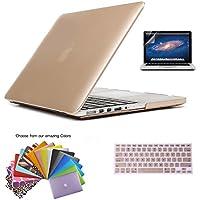 MacBook Pro 15 Retina Custodia Shell, TECOOL [Ultra Sottile Serie] Plastica Caso Rigida Copertina con Copertura della Tastiera e Schermo Protezione per MacBook Pro 15.4 pollici con Retina Display Modello: A1398 - Oro