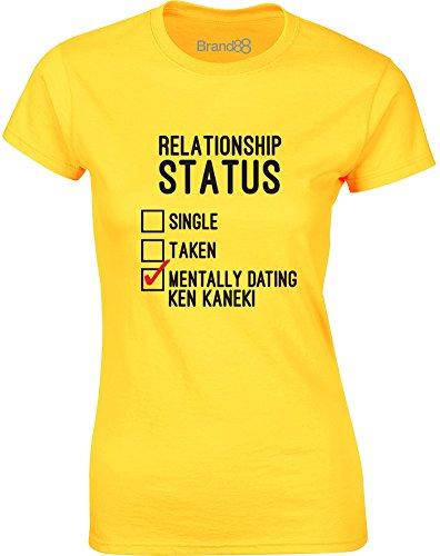 Brand88 - Mentally Dating Ken Kaneki, Gedruckt Frauen T-Shirt Gänseblümchen-Gelb/Schwarz/Rote