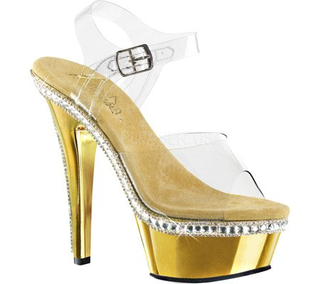 Pleaser KISS-208RS-1 Damen Plateau Sandalette Clr/Gold Chrome