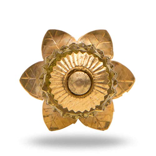 Glass Berry Knob with Brass Flower -