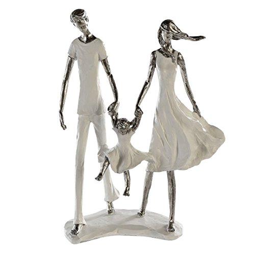 Casablanca - Skulptur - Dekofigur - Family - Weiss/Silber - Polyresin - 23x31x12 cm