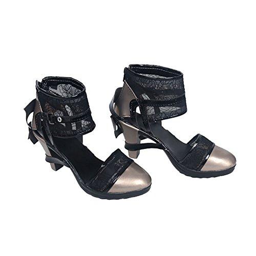 Cosplay Kostüm Noctis - Lunafreya Cosplay Schuhe High Heel Sandalen Runder Zeh Blumen PU-Leder Stiefel Spiel Cosplay Kostüm Zubehör für Damen