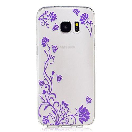 Samsung Galaxy S7 edge Hülle Case, Cozy Hut® [Flower Series] Ultra Dünn [Crystal Case] Transparent Soft-Flex Handyhülle / Bumper-Style Premium-TPU Silikon / Perfekte Passform / Kratzfest Schutzhülle für Samsung Galaxy S7 edge Case, Samsung Galaxy S7 edge Cover, Galaxy S7 edge Case, Galaxy S7 edge Cover, S7 edge Case, S7 edge Cover - Wisteria
