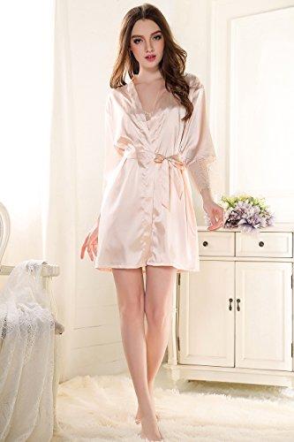 Rainbow Fox aux femmes vêtement de nuit sexy la robe du soir Creux conception Satin Chemise de nuit Champange