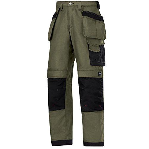 Snickers 32141818048 Canvas+ Pantalon d'artisan Taille 48 Gris Olive/Noir