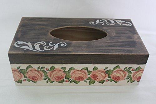 4478bdaab971 Tejido de madera caja de pañuelos hecha a mano decorada a mano rosas  Vintage.