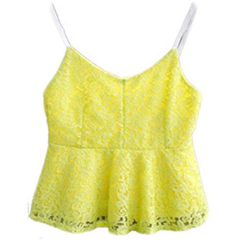 Damen Tops ärmellos V-Ausschnitt Rückenfrei Trägerlos Spitze Sling Kurzshirt Top Blusen Gelb