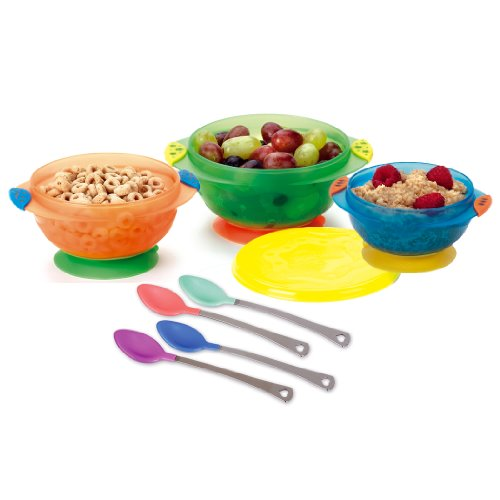 Munchkin Stay-Put Suction Bowls – 3Pk With Munchkin White Hot Safety Spoons – 4Pk 41rKMCKhNpL