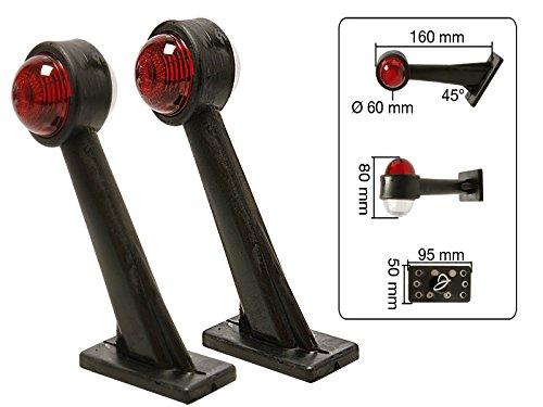 MS-Warenvertrieb 2 Stück Begrenzungsleuchte rot weiß 16cm 45° schräg Anhänger + Lampe 5W 12V
