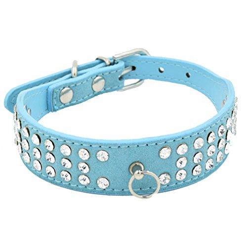 Hundehalsband Halsbänder Wildleder Leder mit 3-Linie Strass O-Ring für Anhänger in Rot Blau Lila Pink Schwarz XS S M L für kleine mittlere Hunde Welpen, Blau S (O-ring Teddy)