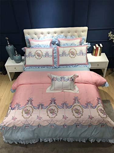 XULIM Bettwäschesatz von Vier Rosa Stil Mädchen Bettwäsche-Sets ägyptischer Baumwolle Stickerei Bettbezug Bettlaken-Set, groß, 200 * 230 cm