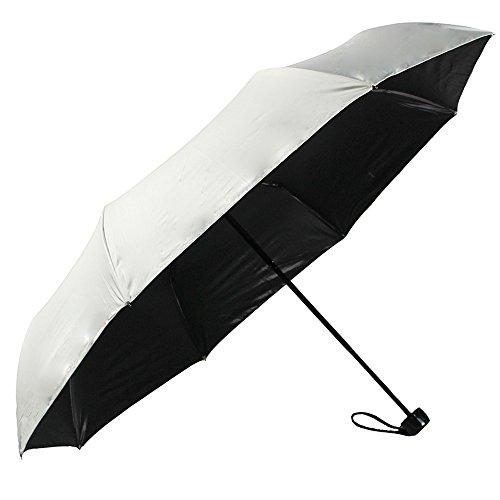 Regenschirm Sonnenschirm mit UV-Schutz kompakter faltbarer Reisen Taschschirm automatisch, winddicht, regendicht mit Schwarz Vinyl (Weiß) -YS017