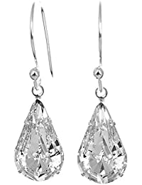 925 Sterling Silver drop earrings for women made with sparkling White Diamond teardrop crystal from Swarovski®. London jewellery box. Hypoallergenic & Nickle Free Jewellery for Sensitive Ears.