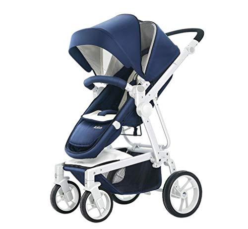 Cochecito de lujo: puede sentarse y tumbarse Paisaje alto con luz, cinturón de seguridad de 5 puntos, diseño plegable para mayor comodidad, ruedas delanteras giratorias de 360 °, carrito de bebé