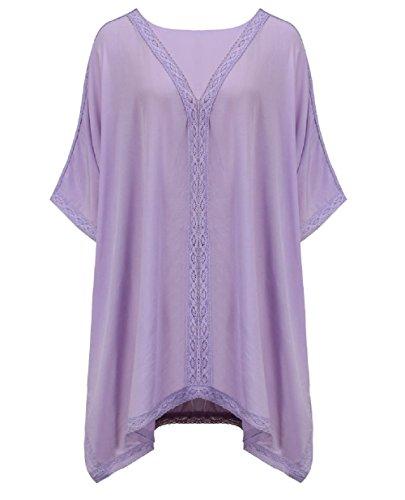 Walant Damen Strandkleid Einheit Größe Kleidung Strand Hemdkleid V-Ausschnitt Rock Lila