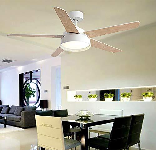 YBCD Moderne Propeller-Design Deckenventilator/Deckenventilator Holz Hauptventilator Licht / 52 Zoll / 132cm 5 x Klinge und eine komfortable Fernbedienung-White - Fein-glas-klinge