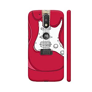 Colorpur Moto G4 Plus Logo Cut Cover - Guitar Red Printed Back Case
