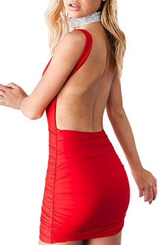 MINET0M Damen Ärmellose Bandage Rückenfrei Bodycon Mini Kleid Hosenträger Etuikleider Abendkleider Partykleid Kurz Dress Rot DE 42