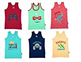 #10: YORKER Multi-Coloured Graphic Printed Cotton Vest for Boy's(Pack of 6)