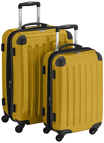 HAUPTSTADTKOFFER - Alex - 2er Koffer-Set Hartschale glänzend, 65 cm + 55 cm, 74 Liter + 42 Liter, Graphit-Blau Gelb