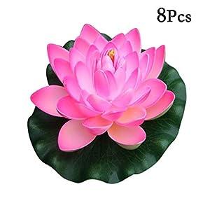 Flikool 18cm Flores de Loto Artificiales con Hoja Falso Flotante Lirio de Agua EVA Espuma Nenúfar Plantas Artificiales para Jardín Acuarios Tanque de Peces Estanque Decoración 8pcs – Pink