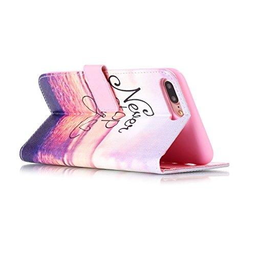Voguecase® Pour Apple iPhone 7 Plus 5,5 Coque, Étui en cuir synthétique chic avec fonction support pratique pour Apple iPhone 7 Plus (Campanula plume 06)de Gratuit stylet l'écran aléatoire universelle never stop