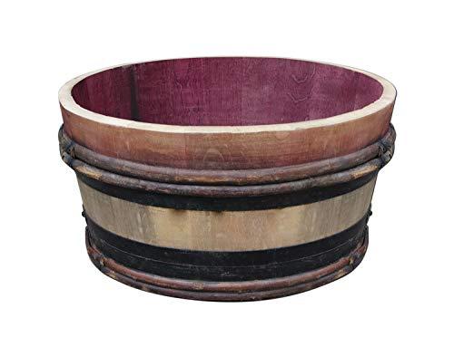 Temesso Altes Weinfass halbiert aus Eichenholz Bordeaux Rustique -als Pflanzkübel oder Miniteich (Natur unbehandelt)