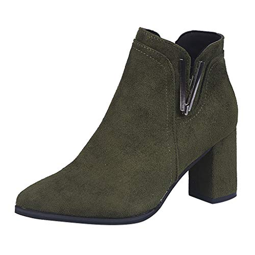 Watopi Damen Stiefeletten Freizeit Solide Spitzschuh Slip-On Stiefel Chelsea Booties