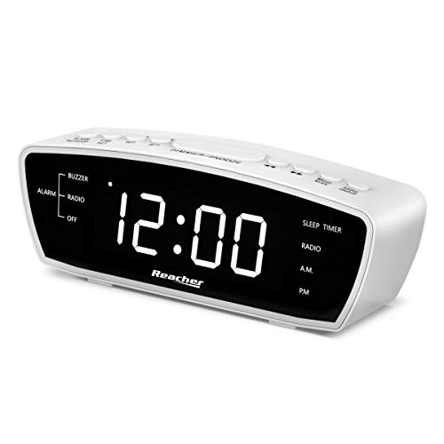 Radiowecker, Reacher Simple Wecker Radio mit USB-Ladebuchse, FM-Radio, Dimmer, 6 Snooze 9-Minuten-Intervalle, einstellbare Wecklautstärke für schwere Schläfer, für Schlafzimmer (weiß)
