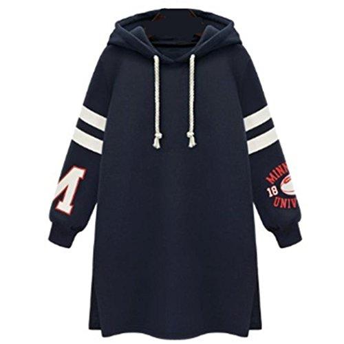 WOCACHI Damen Kapuzenpullover Mode Frauen Langarm Plus Size Streifen Patchwork Buchstabe Gedruckt Reine Farbe Hooded Sweatshirt Casual Tops Blouse (2XL/40, Dunkelblau)