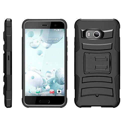 turtlearmor | Kompatibel für HTC U11Fall | HTC Ocean Fall [Hyper Schock] Armor Rugged Hybrid Auswirkungen Silikon Holster Gürtelclip Cool Designs -, Schwarz